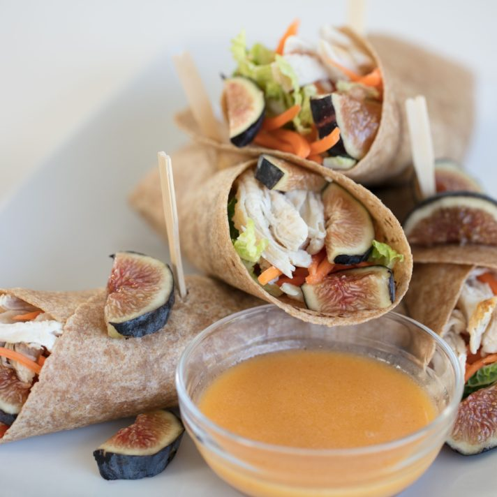 California Fig Asian Chicken Wrap with California Fig and Ginger Dressing