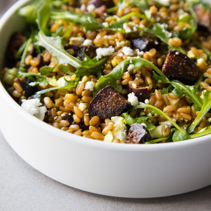 California Fig and Farro Salad with Arugula and Feta