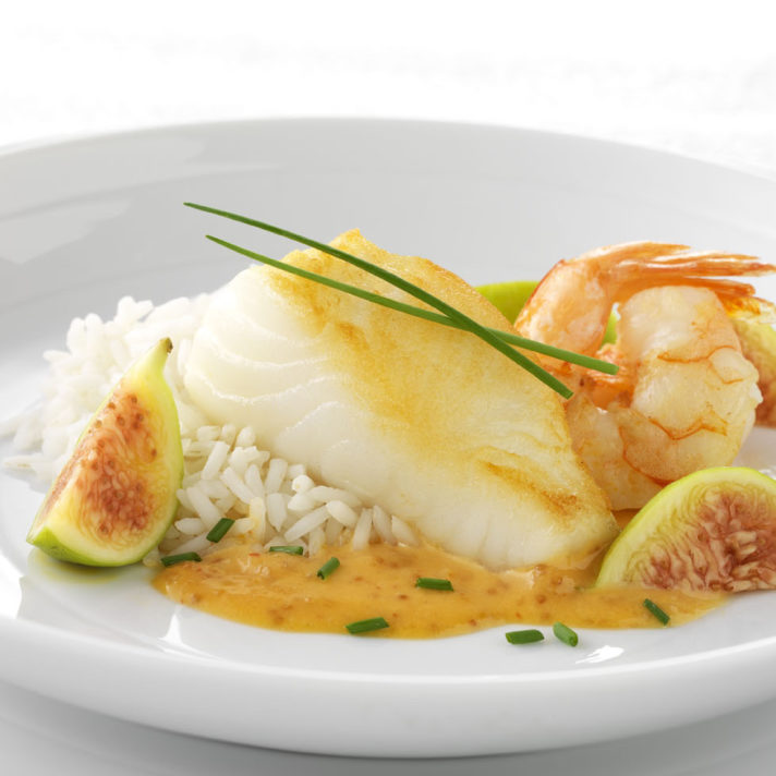 Halibut and Shrimp with Asian California Fig and Ginger Sauce