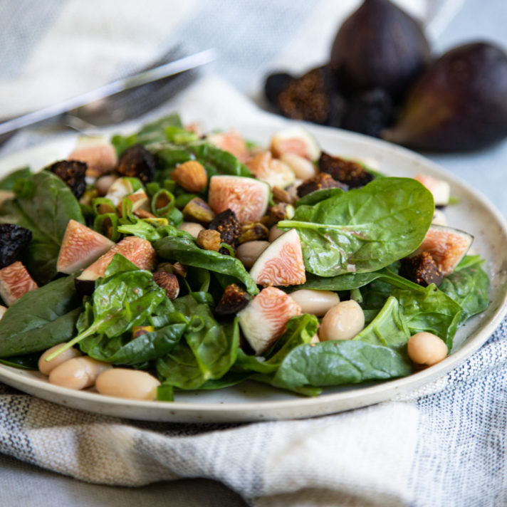 California Fresh Fig Salad with Spinach, Cannellini Beans, and Fig Vinaigrette