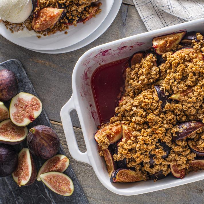 California Fresh Fig and Tahini Sesame Crisp